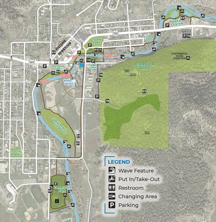 Map of Downtown River Use in Pagosa Springs