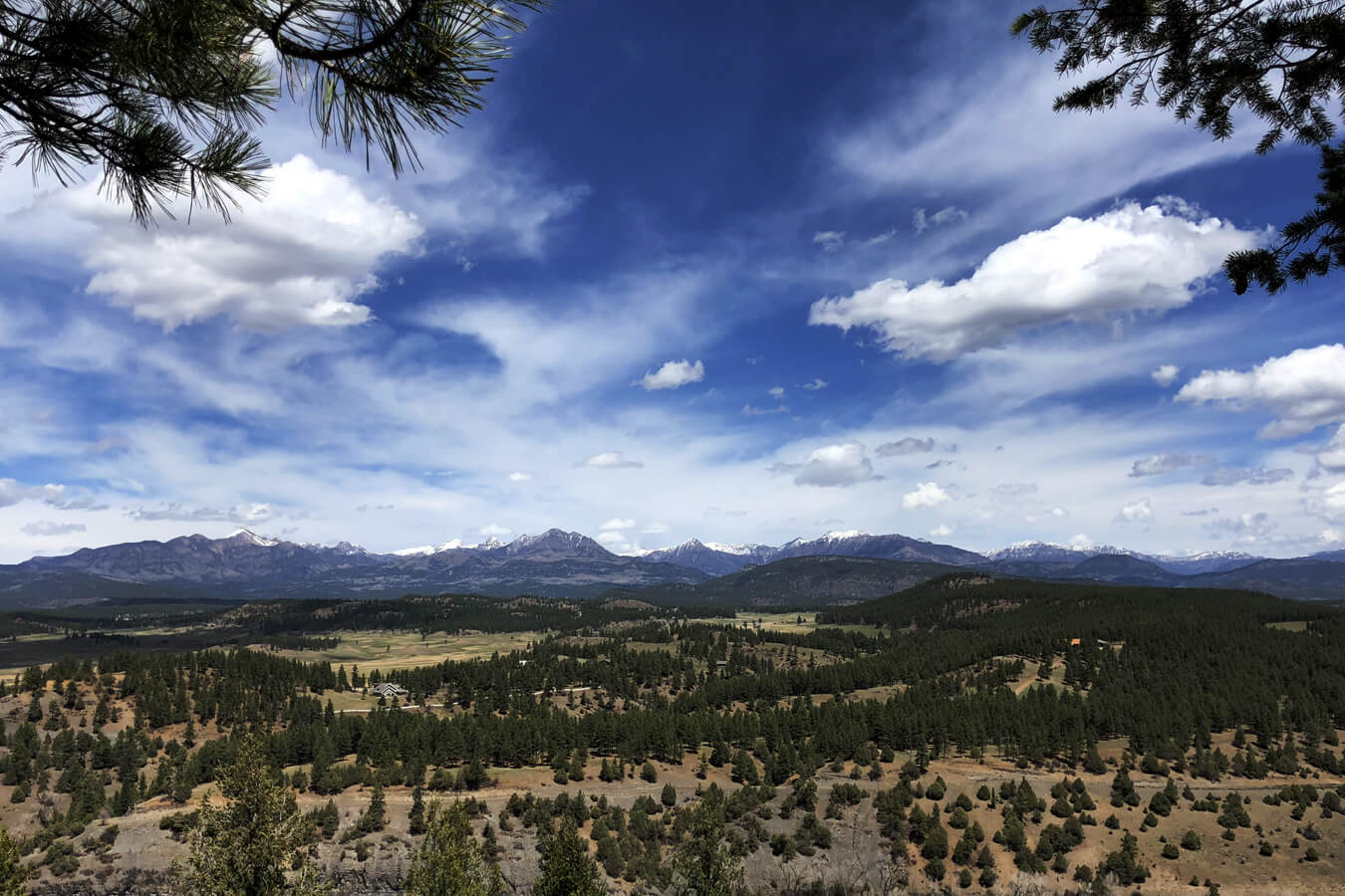 View of the San Juan Mountains from Reservoir Hill in downtown Pagosa Springs
