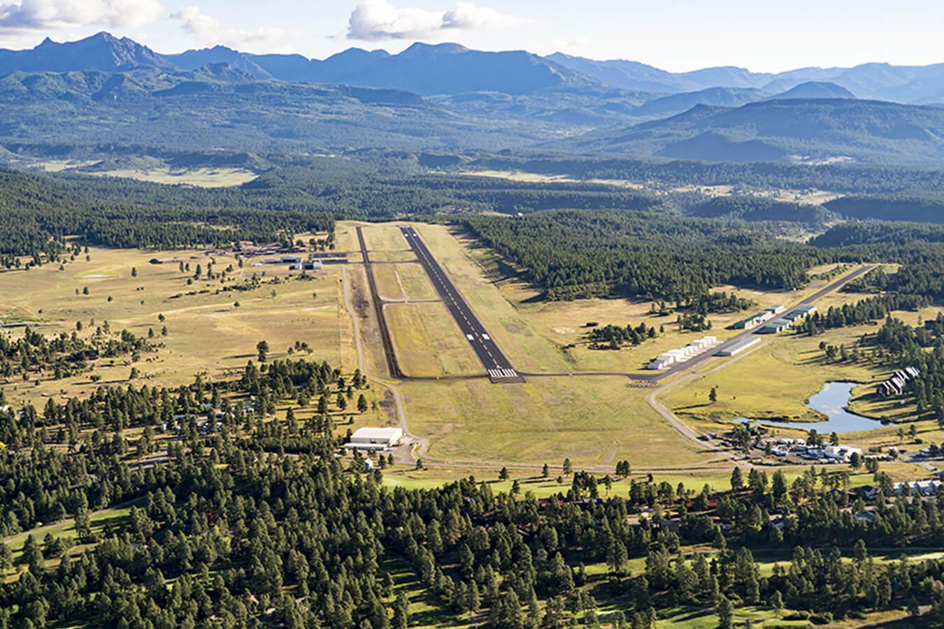 An aerial view of Archuleta County Airport at Stevens Field