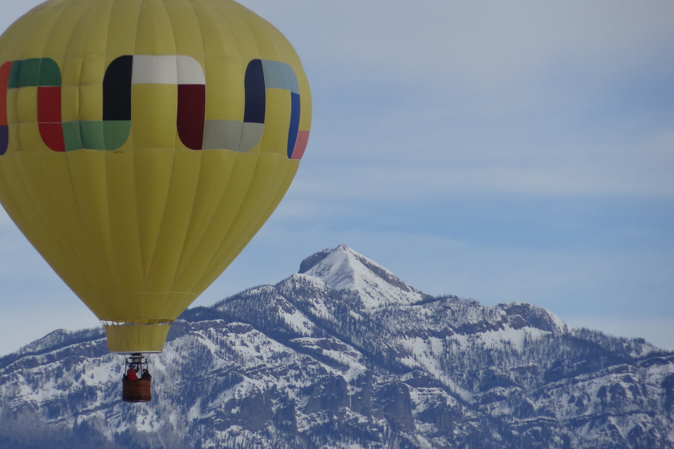 Hot air balloon with Pagosa Peak in the background