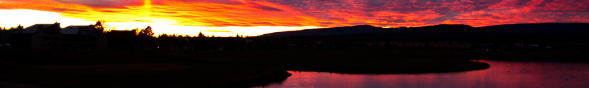 Sunset over the lake in Pagosa Springs