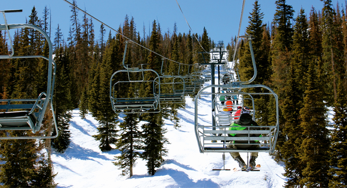 Ski lift at Wolf Creek Ski Area, the most snow in Colorado