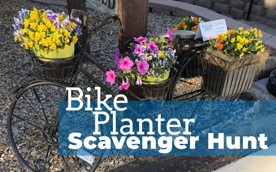 Visit Pagosa Springs Bicycle Flower Planter Scavenger Hunt