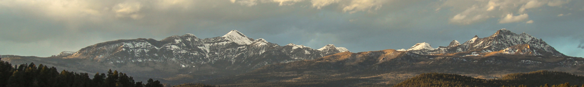 Pagosa Peak and Eagle Mountain with a light snow
